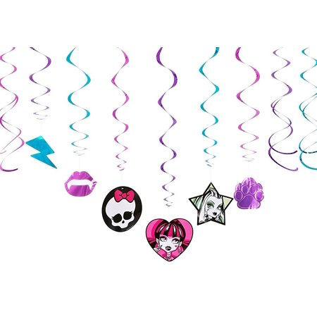 Monster High Party Hanging Decorations, 12pc