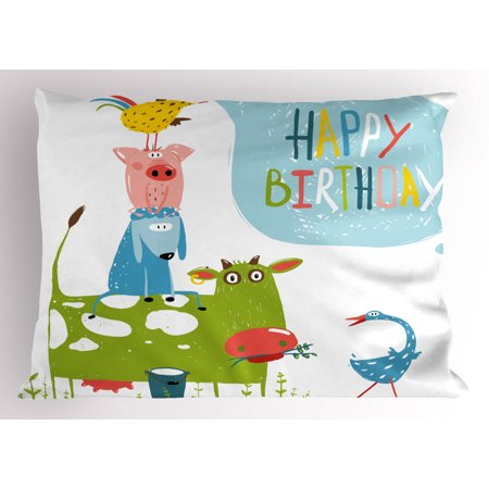 Birthday Pillow Sham Cute Cartoon Farm Animals Pyramid Goose Pig and Bird Humorous Country Inspired, Decorative Standard Queen Size Printed Pillowcase, 30 X 20 Inches, Multicolor, by Ambesonne ()