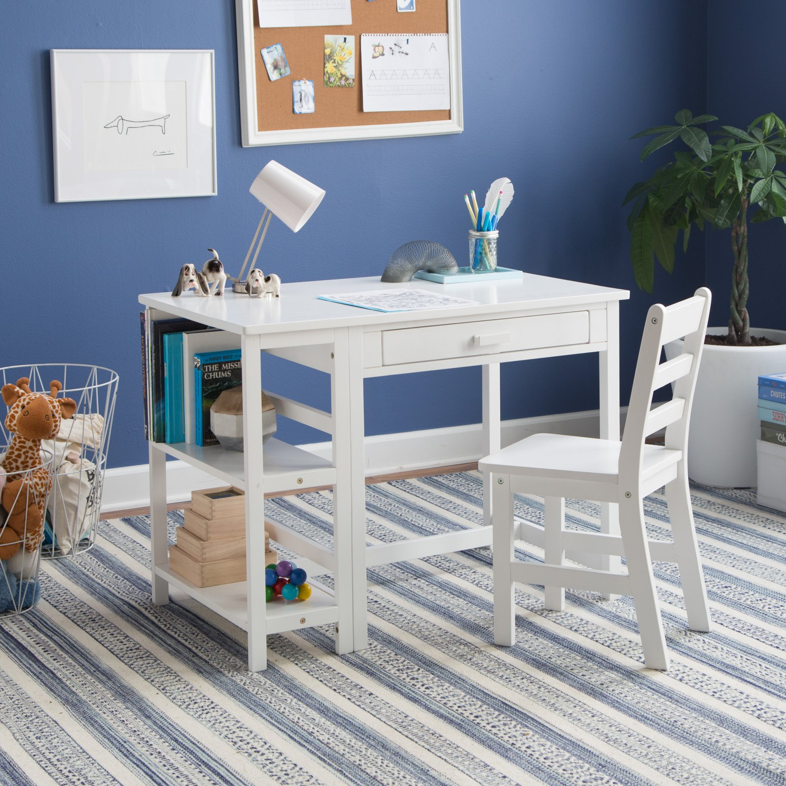 Lipper Writing Workstation Desk And Chair - White
