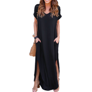 V-neck Loose Casual Women's Long Dress with Pocket