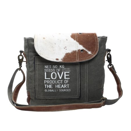 Seeds of Love Genuine Hair-On Cowhide Leather and Recycled Canvas Crossbody Bag