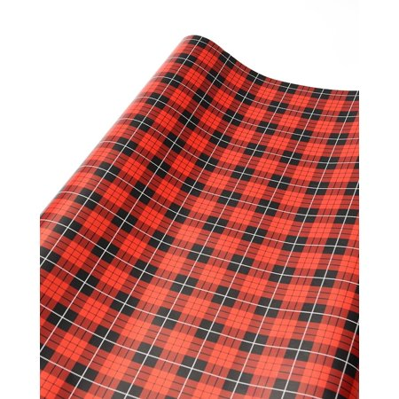 Mara-Mi Red Plaid Gift Wrap - Red Brick Wrapping Paper