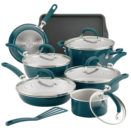 Rachael Ray Create Delicious Aluminum Nonstick Cookware Set, 13-Piece, Teal Shimmer