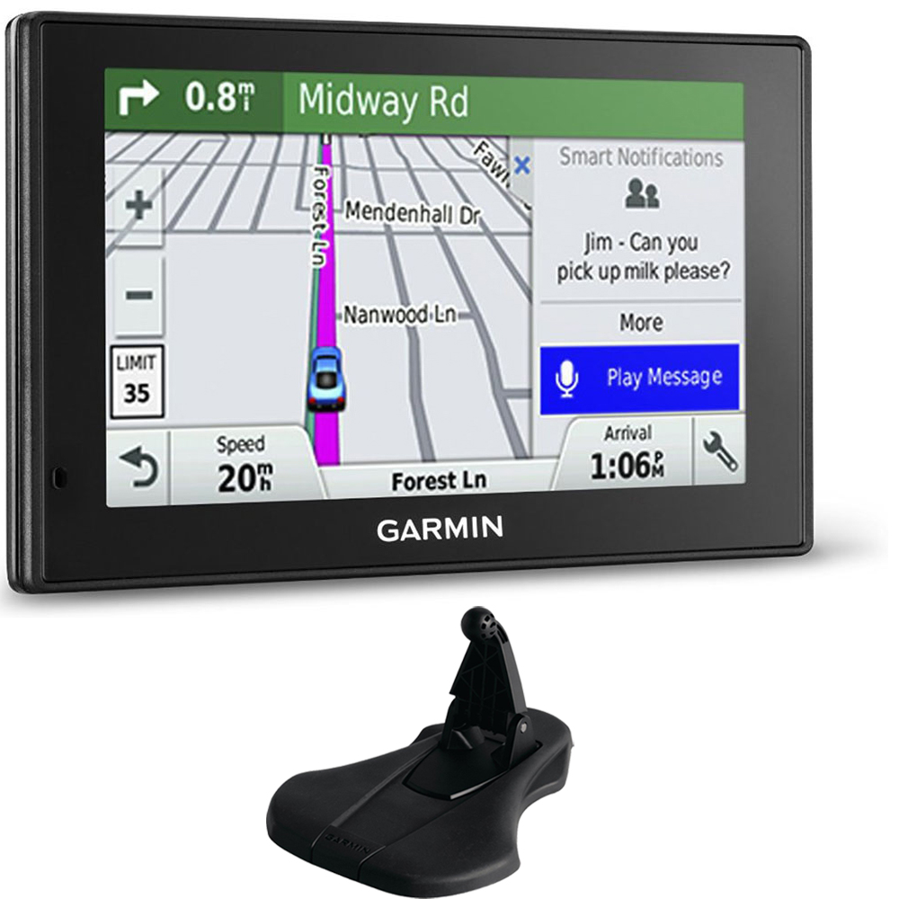 Garmin 010-01539-01 DriveSmart 50LMT GPS Navigator Friction Mount Bundle includes Garmin DriveSmart 50LMT and Portable Friction Mount (Flexible Style)