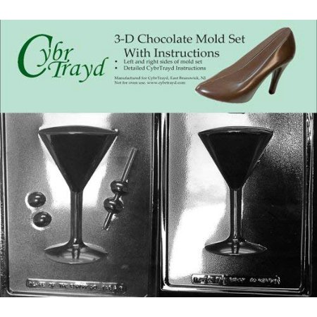 Glass Slump Kiln Mold - Cybrtrayd AO128AB Martini Glass Chocolate Candy Mold Bundle with 2 Molds and Exclusive Cybrtrayd Copyrighted 3D Chocolate Molding Instructions