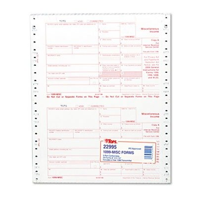 Tops IRS Approved 1099 Tax Form 5 1/2 x 8 Five-Part Carbonless 24 Forms - 22995