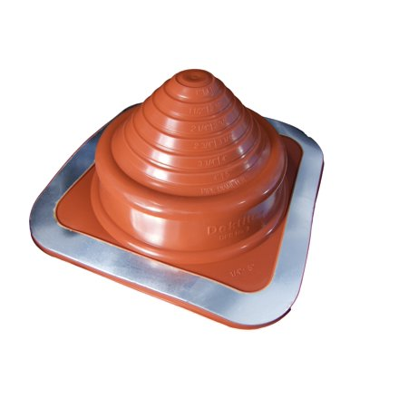Pipe Size Od - DEKTITE SQUARE BASE PIPE FLASHING BOOT: #3 (DFE203RE) RED High Temp Silicone Square Base Flexible Pipe Flashing Dektite (for OD pipe sizes 1/4