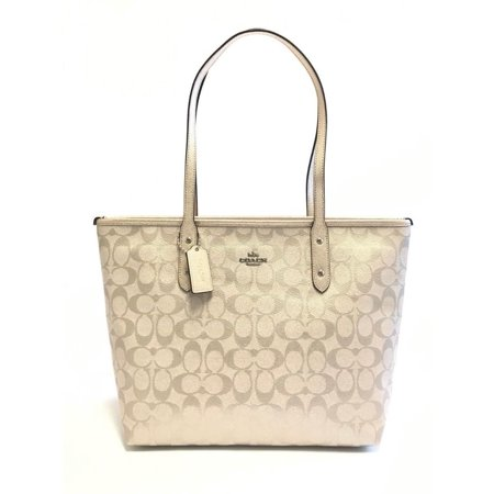 NEW WOMEN'S COACH (F39555) METALLIC PLATINUM SIGNATURE CITY TOTE PVC HANDBAG BAG