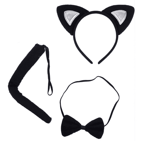 Fairy Tail Halloween Makeup (Lux Accessories Halloween Cat Kitty Costume Black Silver Furry Ears Bow Tie)
