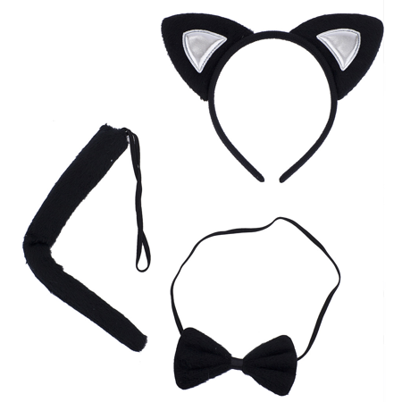Lux Accessories Halloween Cat Kitty Costume Black Silver Furry Ears Bow Tie Tail (Spirit Halloween Cat Tail)