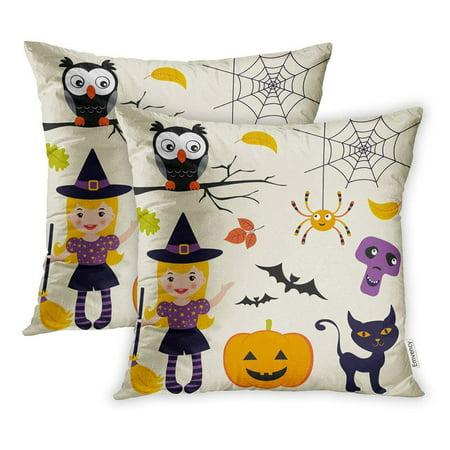 Cute Halloween Bats (CMFUN Witch Cute Halloween Collection Fall Hat Owl Bat Black Black Cat Pillowcase Cushion Cover 16x16 inch, Set of)