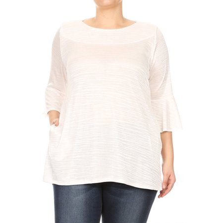6d0ba835038 MOA Collection - Women s Plus Size Solid Striped Knit Tunic Top ...