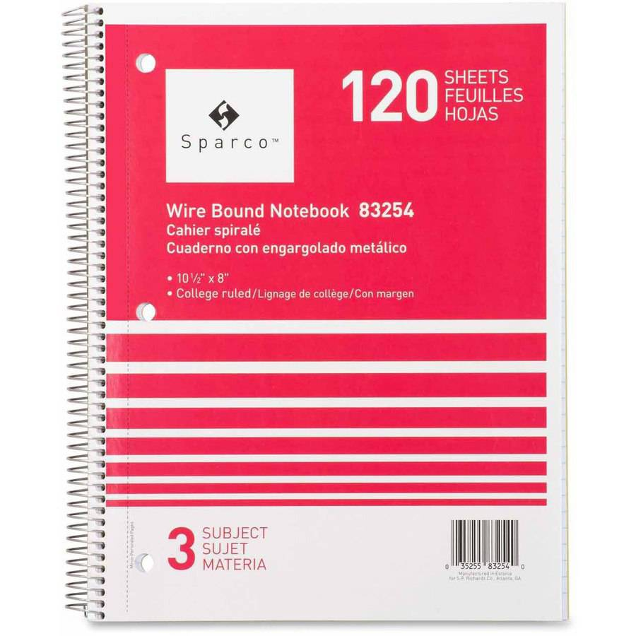 Sparco 3-Subject Quality Wirebound Notebook, Assorted Colors