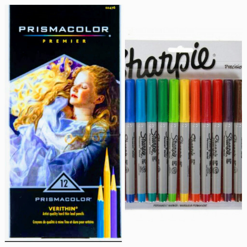 Prismacolor Premier 12 ct Verithin And 12 ct Sharpie Precision markers, Great for Adult Coloring Books
