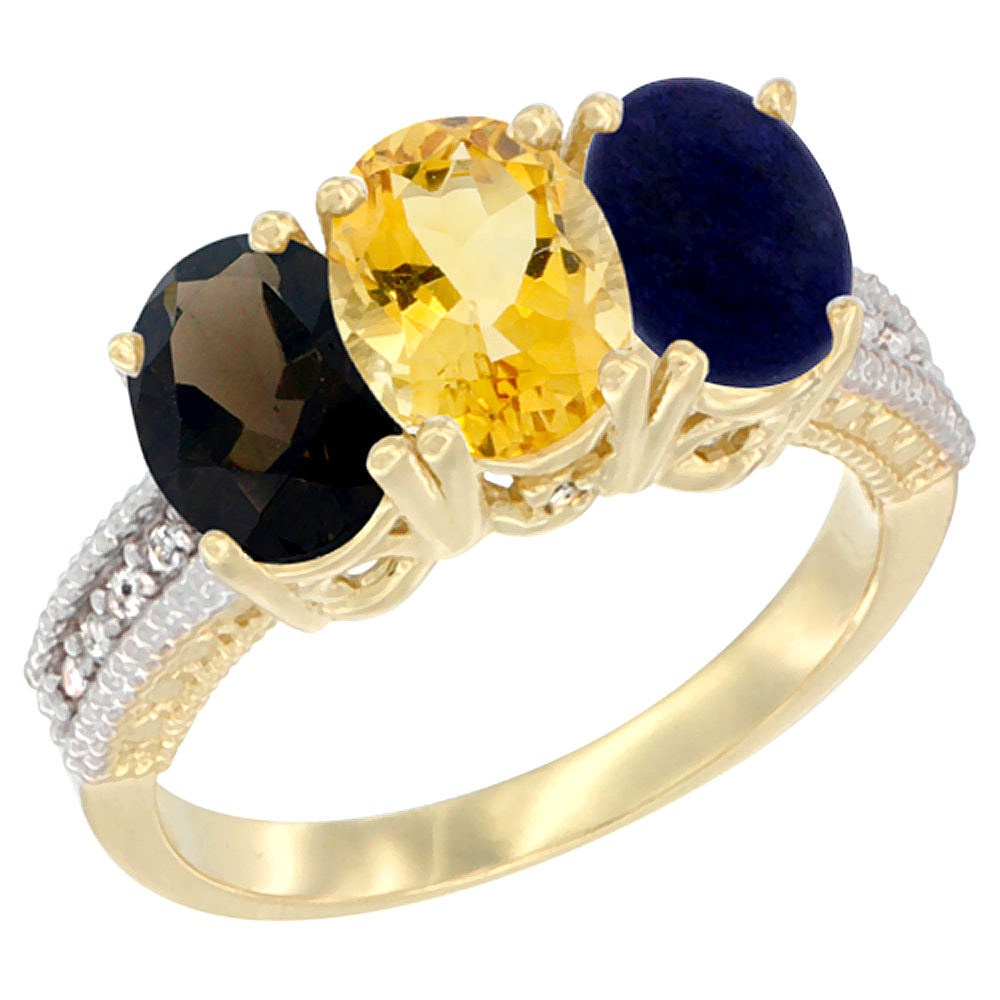 10K Yellow Gold Diamond Natural Smoky Topaz, Citrine & Lapis Ring 3-Stone 7x5 mm Oval, sizes 5 10 by WorldJewels