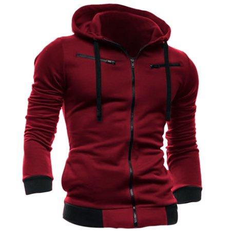 Men Full Zip Up Zipper Decor Fleece Inside Hoodie Jacket