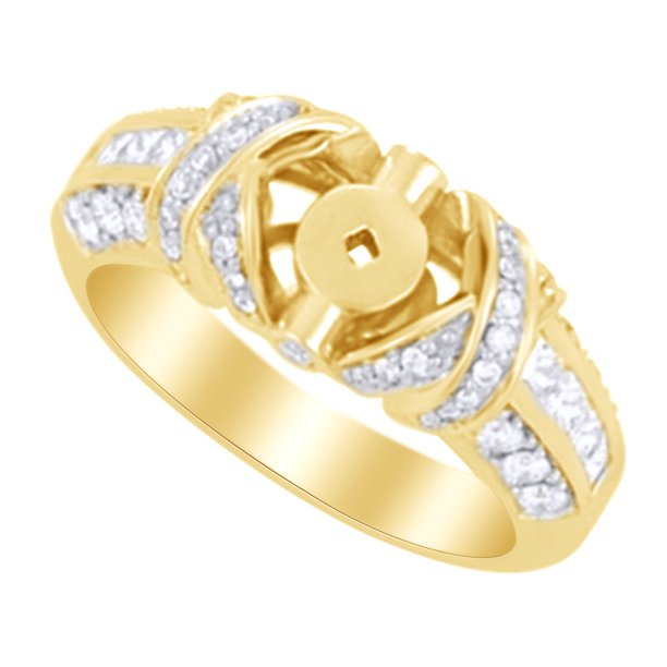 White Natural Diamond Semi Mount Engagement Ring in 14k Yellow Gold (0.88 Ct )