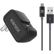 Kanex KWCU24V2BKKTMU1 2.4A 1-Port Wall Charger with microUSB Cable, 4', Black