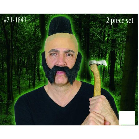 Hunter Man Black Mohawk Bald Head & Beard Costume Accessory Set One Size - Male Halloween Makeup With Beard