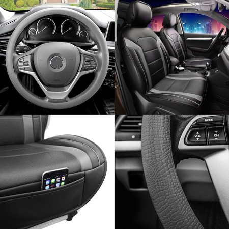 FH Group, Faux Leather Seat Covers Cushion Pad Front Bucket Gray w/Steering Cover ()