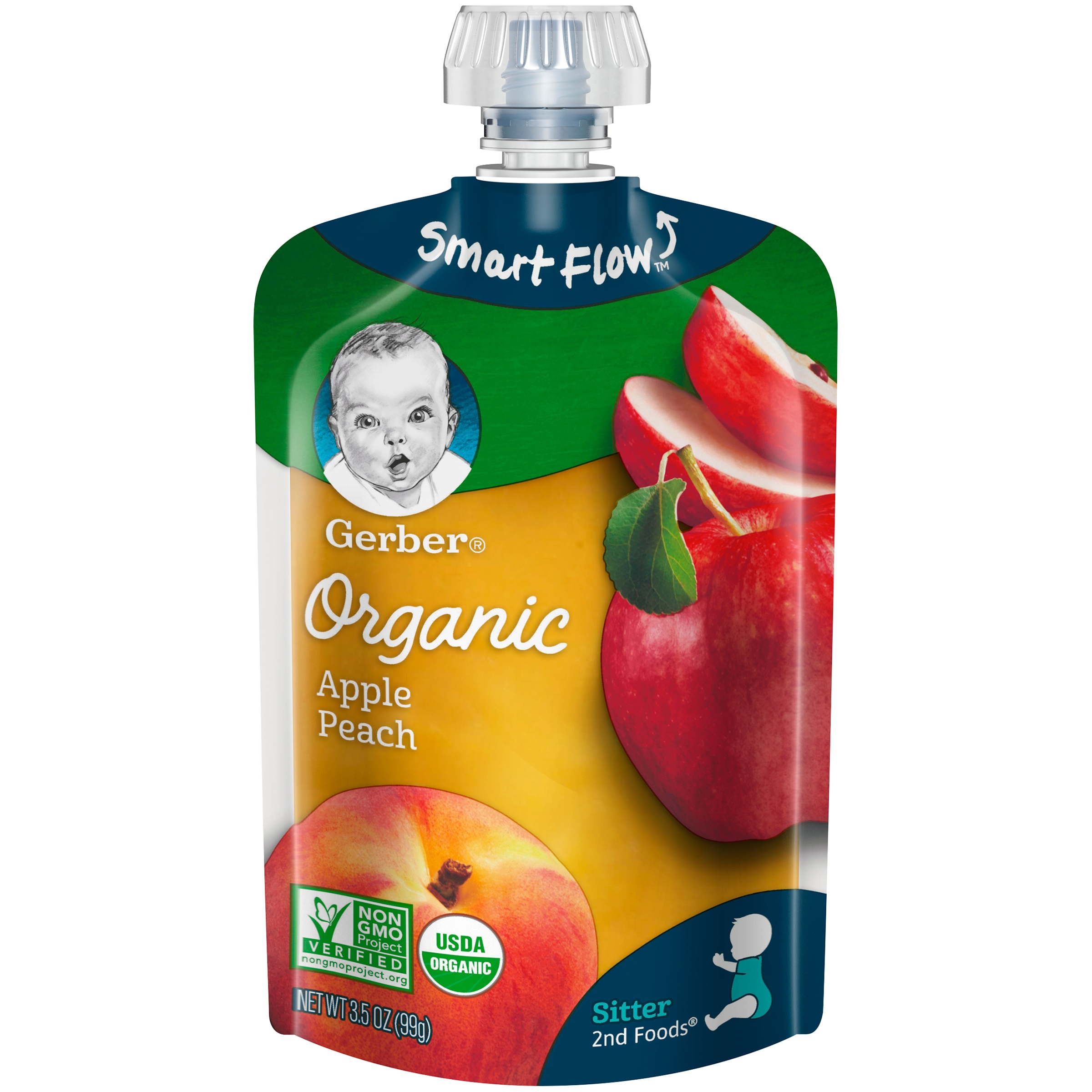 Gerber Organic 2nd Foods Baby Food, Apple Peach, 3.5 oz Pouch (Pack of 12)