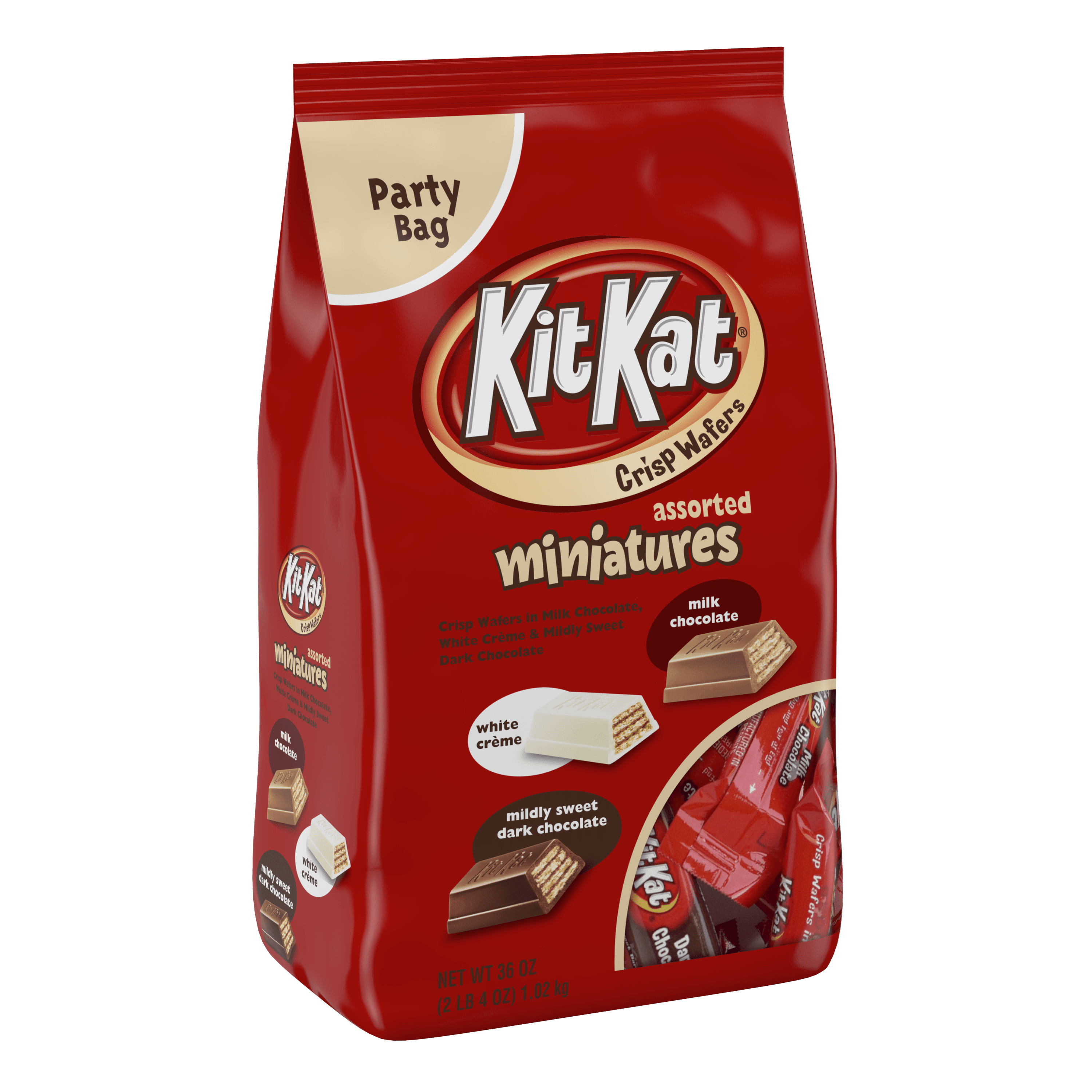 Kit Kat, Crisp Wafer Milk Chocolate Candy Bars Miniatures, 36 Oz ...