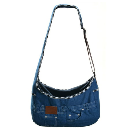 Dog Cat Sling Carrier Jeans Denim Travel Tote Crossbody