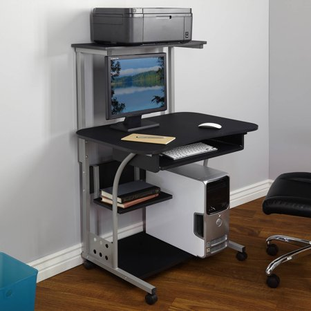 Mobile Computer Tower with Shelf, Multiple Finishes