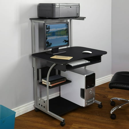 Mobile Computer Tower with Shelf, Multiple Finishes Black Leaning Shelf Desk