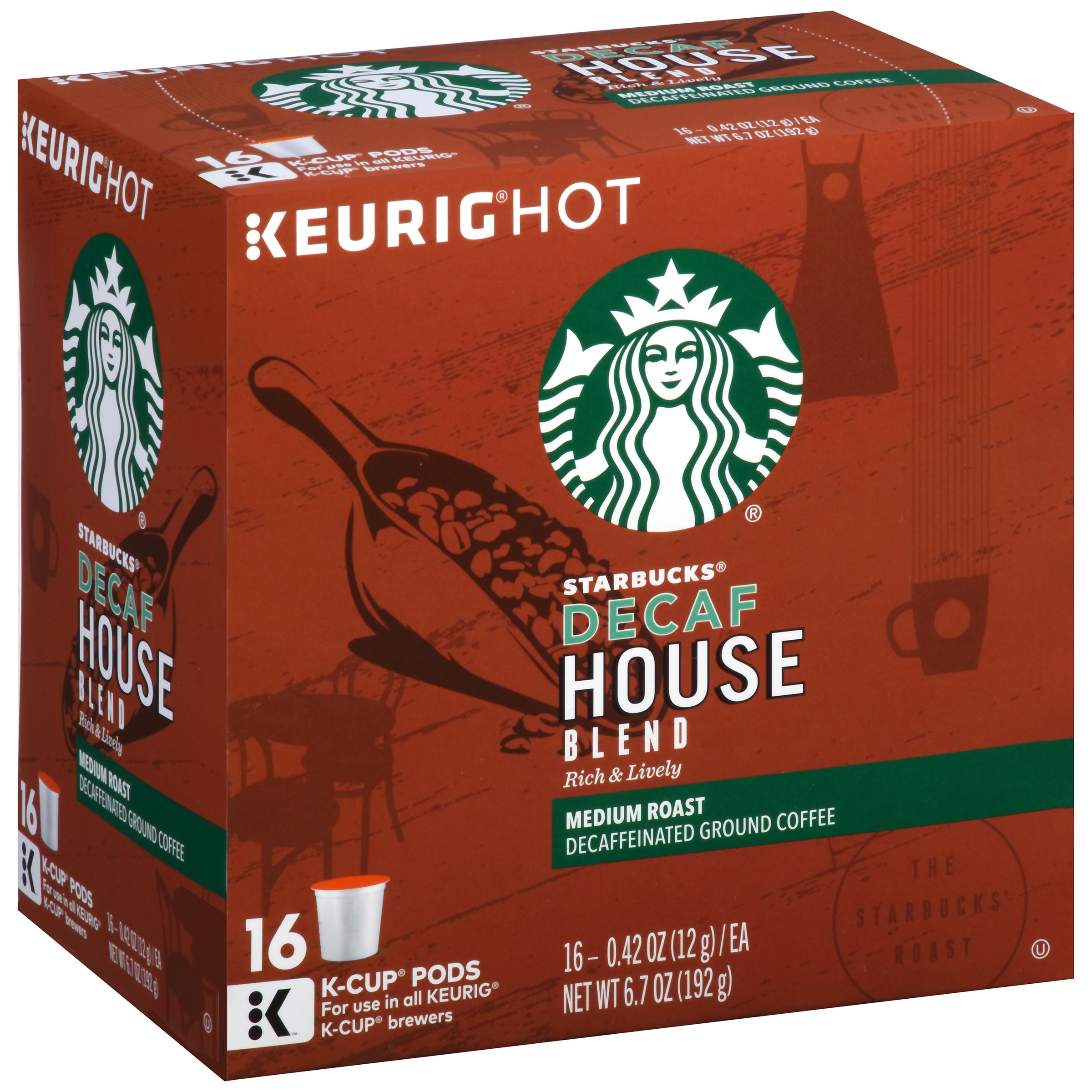 Starbucks Decaf House Blend Medium Ground Coffee K-Cup Pods 16 ct Box by STARBUCKS COFFEE COMPANY