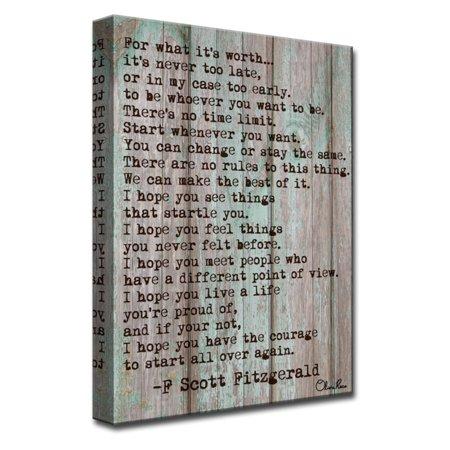 Ready2HangArt F Scott Fitzgerald - Courage Canvas Wall Art ()