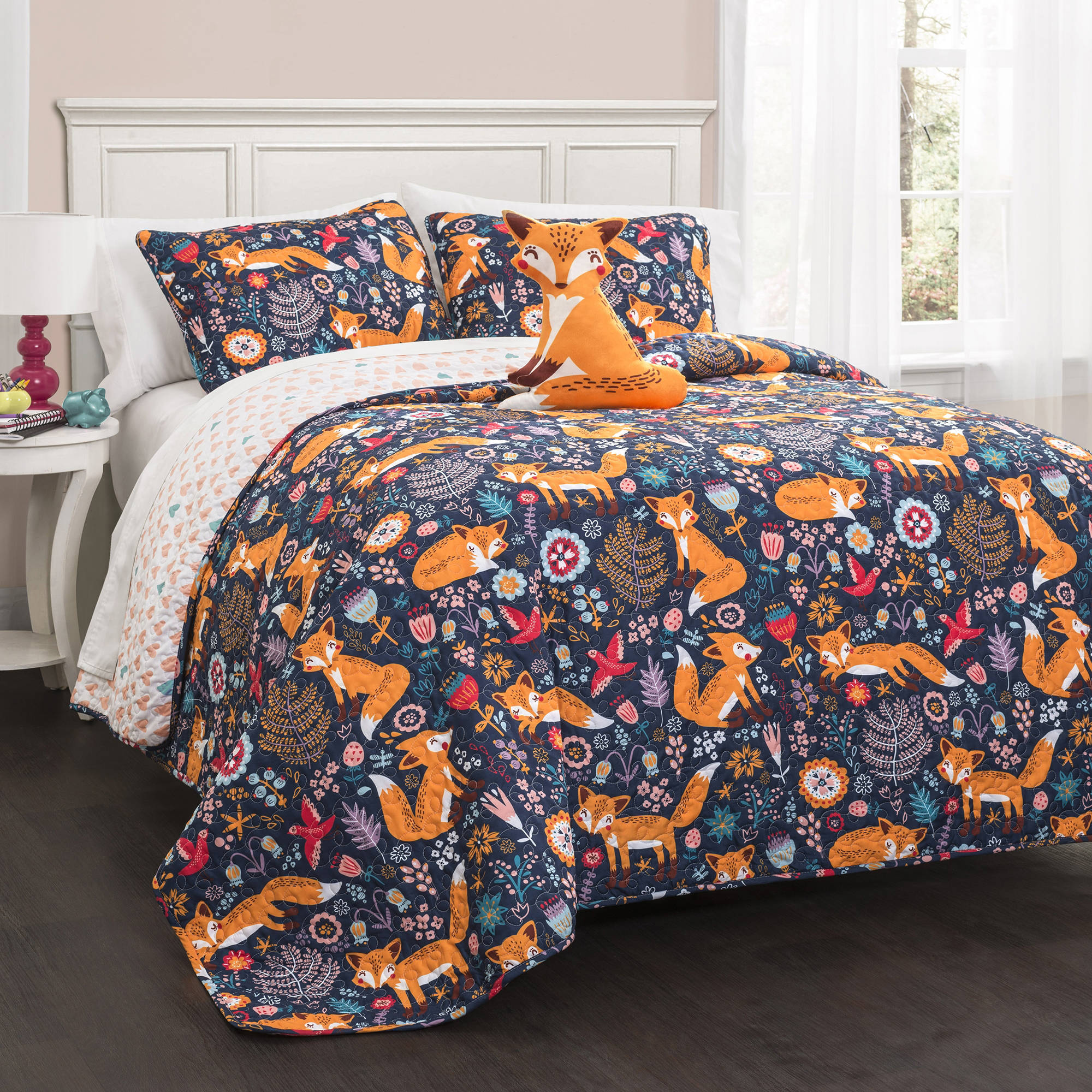 Pixie Fox Quilt Navy 4-Piece Set
