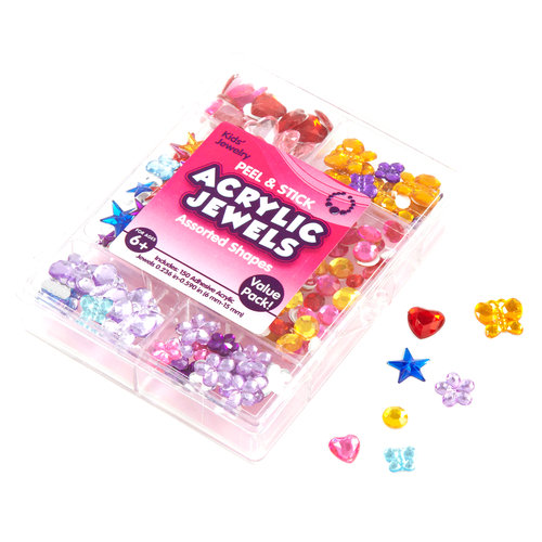 Kids Craft Adhesive Acrylic Stones Value Pack, Shapes