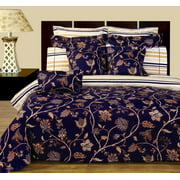 Beautiful and Elegant Floral Pattern Lilian Reversible 11-Piece Bedding Set 100% Combed Cotton