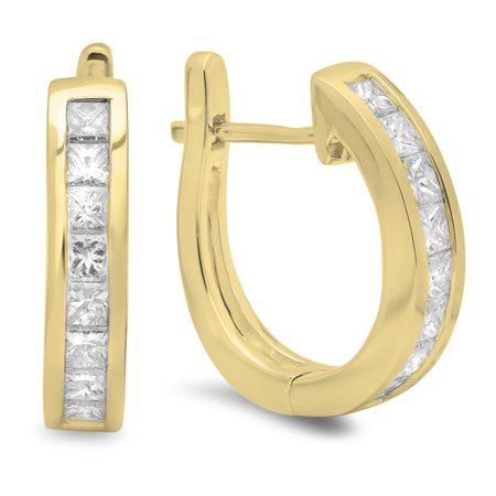 1.00 Carat (ctw) 18K Yellow Gold Princess Cut Diamond Ladies Hoop Earrings 1 CT