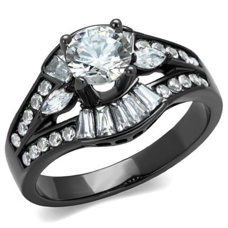- Stainless Steel Black IP 1.45Ct Solitaire CZ Engagement Cocktail Ring Sizes 5-10