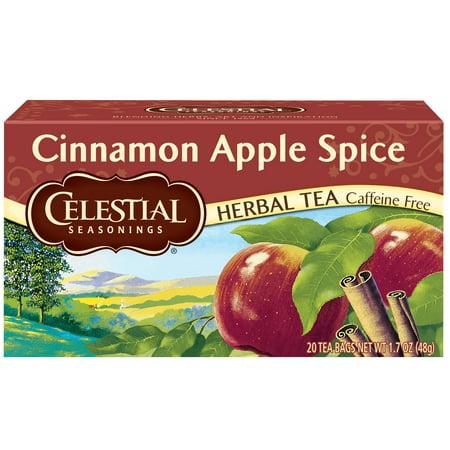 (6 Boxes) Celestial Seasonings Herbal Tea, Cinnamon Apple Spice, 20 (Private Selection Sweet Cinnamon Spice Herbal Tea Ingredients)