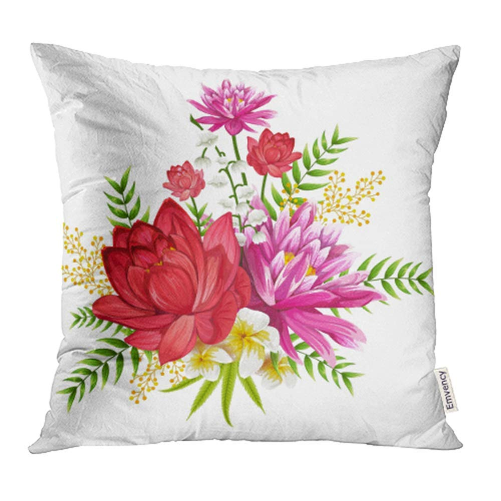 CMFUN Botanical Design of Colorful Vintage Flower Bouquet Floral Romantic Anniversary Pillowcase Cushion Cover 18x18 inch