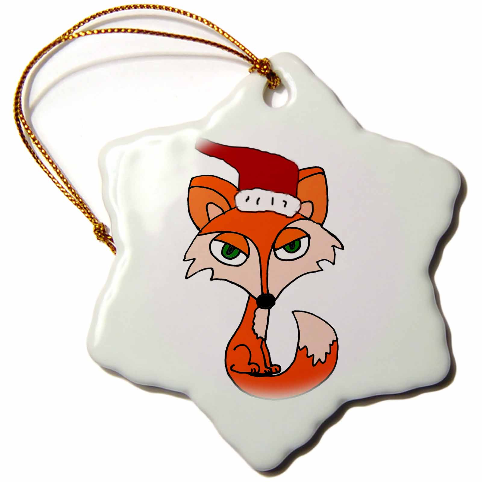 3dRose Funny Foxy Red Fox in Santa Hat Christmas Art, Snowflake Ornament, Porcelain, 3-inch