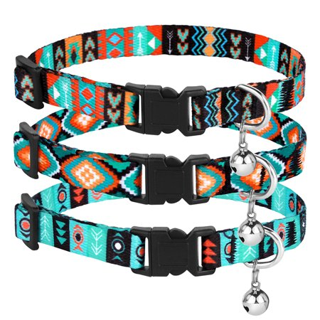 Breakaway Cat Collar Tribal Pattern Safety Adjustable Collars for Cats Kitten with Bell Size 7-11 Inch, Pattern 2