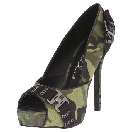 4 Inch High Heel Pump Shoes Camo Green Army Costume Shoes Military Peep -