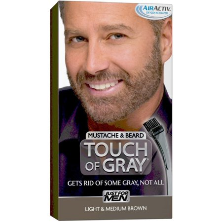 JUST FOR MEN Touch of Gray Hair Color, Mustache & Beard Kit, Light & Medium Brown  B-25/35, 1 ea (Pack of 2) for $<!---->