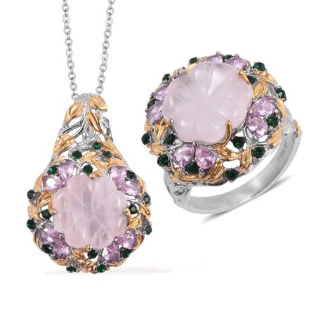 Stainless Steel ION Plated Rose Quartz Cubic Zircon Pink Ring Size 11 Pendant Necklace Set -
