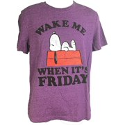 Peanuts Snoopy Wake Me When It's Friday Adult T-Shirt Purple (Small) by