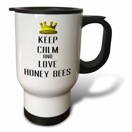 3dRose  Gold Crown Keep Calm And Love Honey Bees, Travel Mug, 14oz, Stainless Steel ()