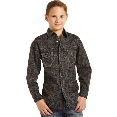 Rock & Roll Cowboy Boys Poplin Paisley Print Long Sleeve Snap Shirt (Handsome Boy Modeling School Rock And Roll)