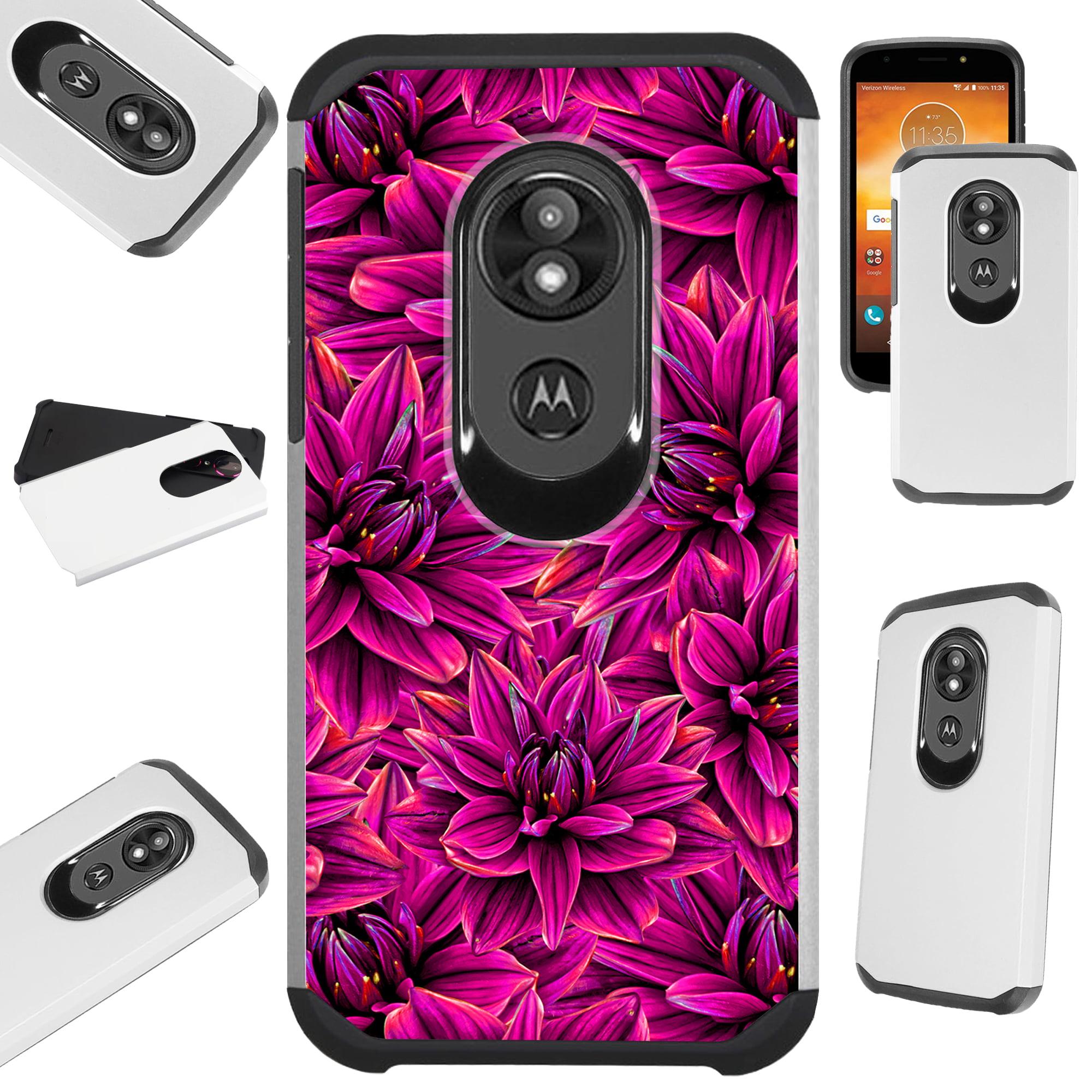 For Motorola Moto E5 Play | Moto E5 Cruise Case Hybrid TPU Fusion Phone Cover (Purple Blossom Flower)