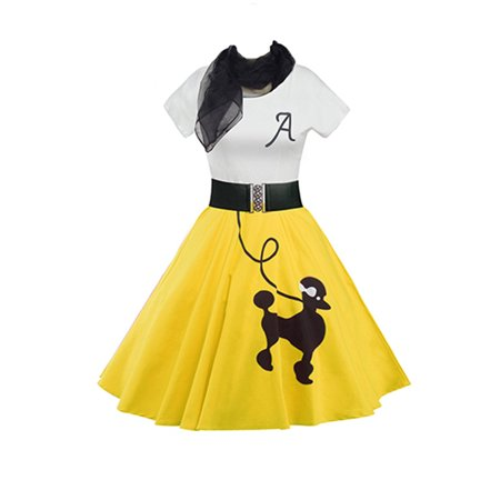 Women Vintage 50s 60s Rockabilly Retro Poodle Printed Cocktail Evening Swing Formal Party Belted Dress with Scarf
