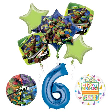 Teenage Mutant Ninja Turtles 6th Birthday Party Supplies and TMNT Balloon Bouquet Decorations](Ninja Turtles Birthday Decorations)