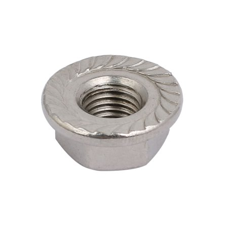 8pcs M8 x 1mm Pitch Metric Fine Thread 304 Stainless Steel Hex Flange Nut - image 2 of 4